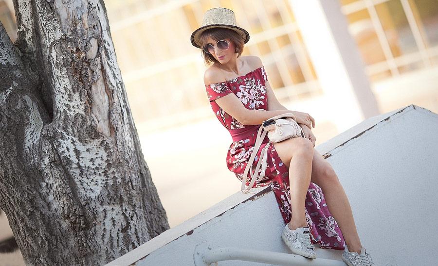 boho style, floral print maxi dress,