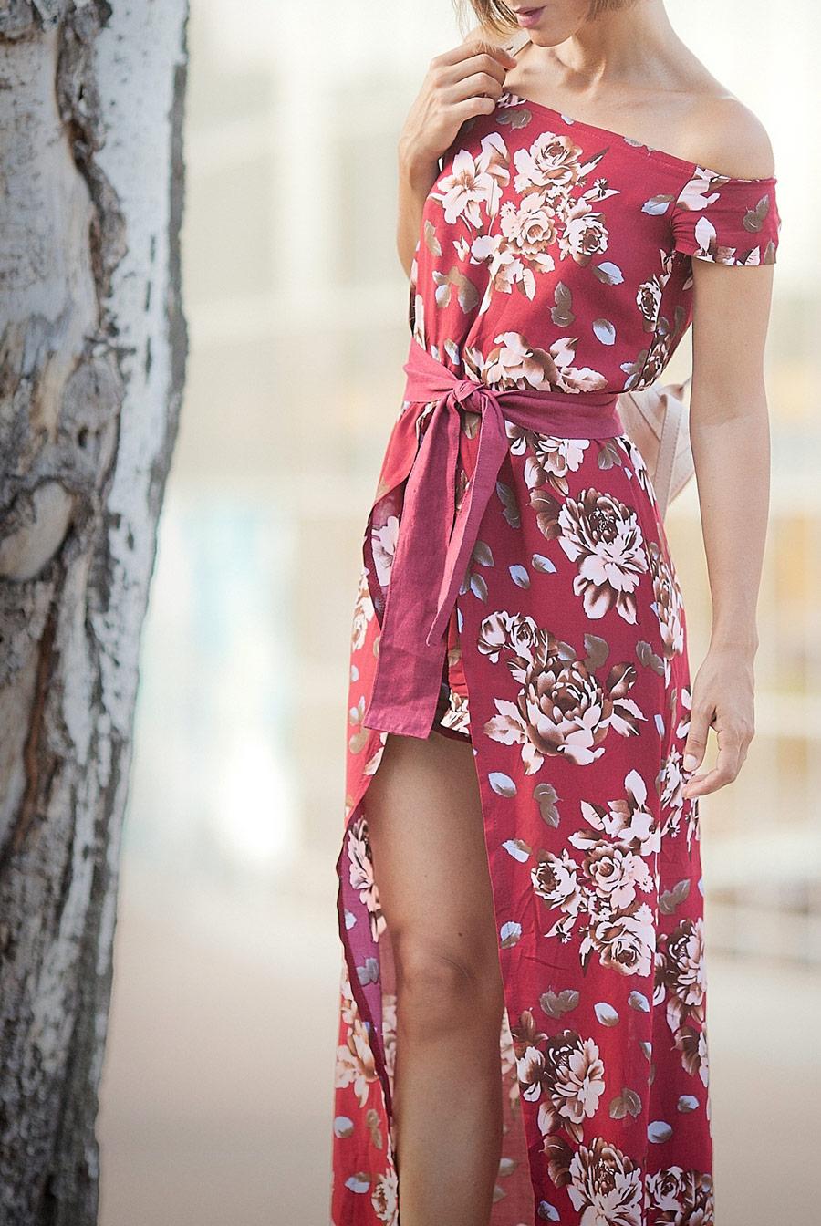 цветочное макси платье, цвет бургундия в моде, цветочный принт,