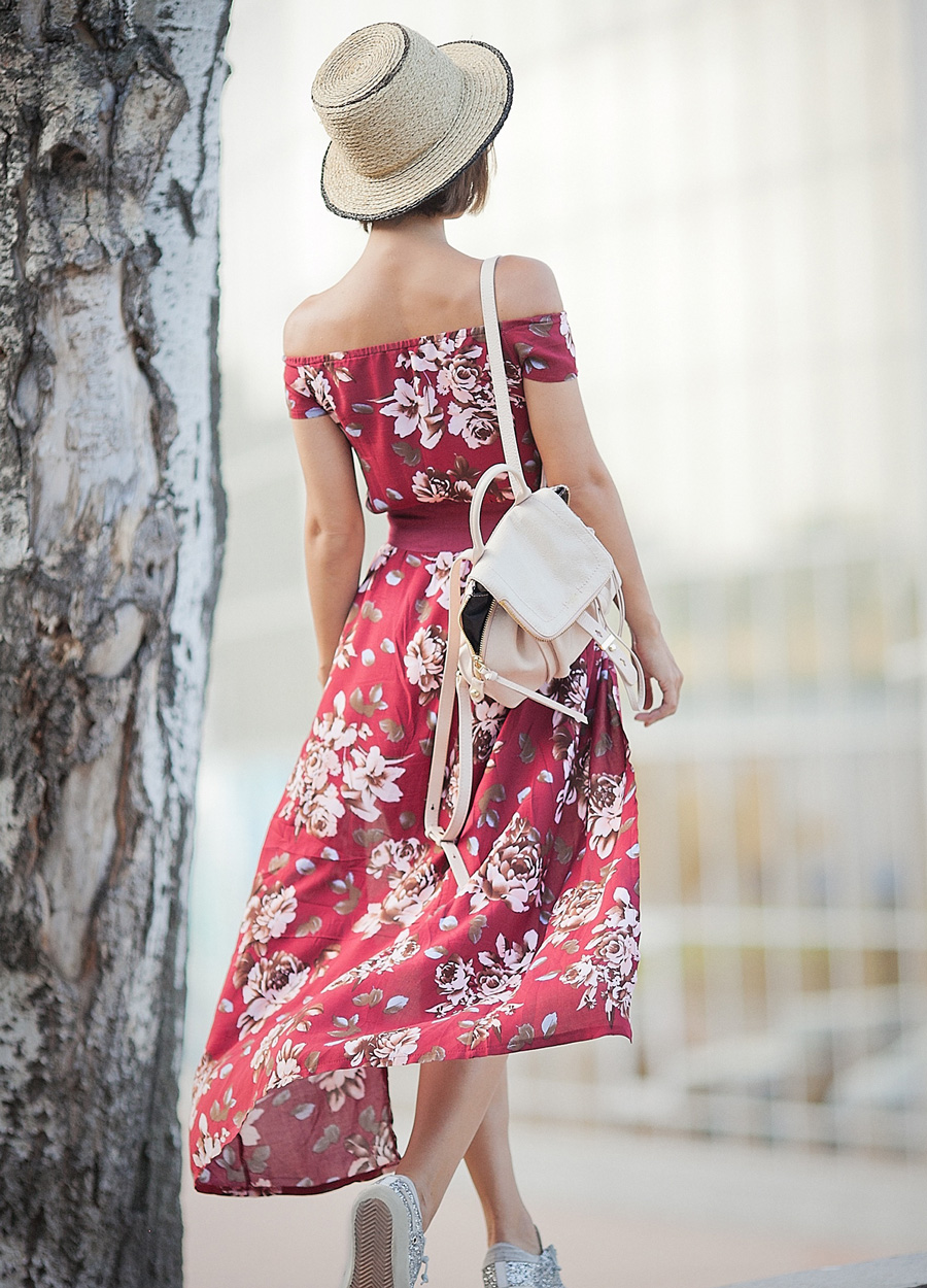 maxi dress in boho style, floral print dress,