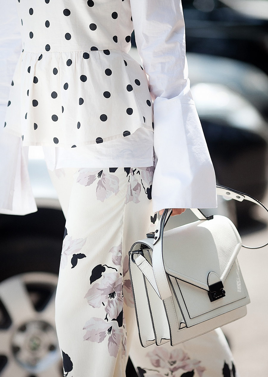 mix of prints, summer street styles ideas, loeffler randall bag,