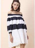 Unfair Stripe Off-shoulder Dress