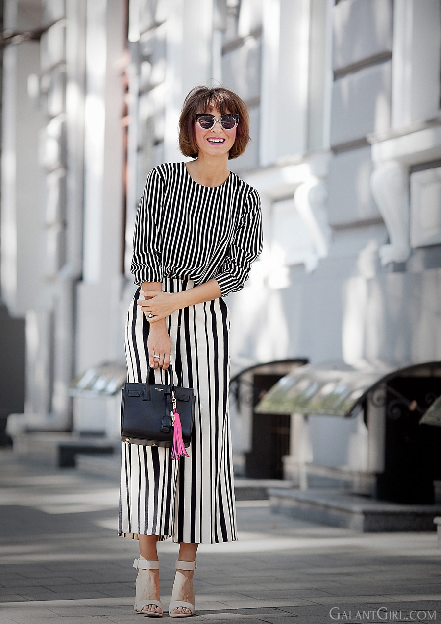 striped culottes outfit, total striped outfit, striped top outfit, summer styles, summer street style ideas, best russian fashion blogger, Ellena Galant Girl,