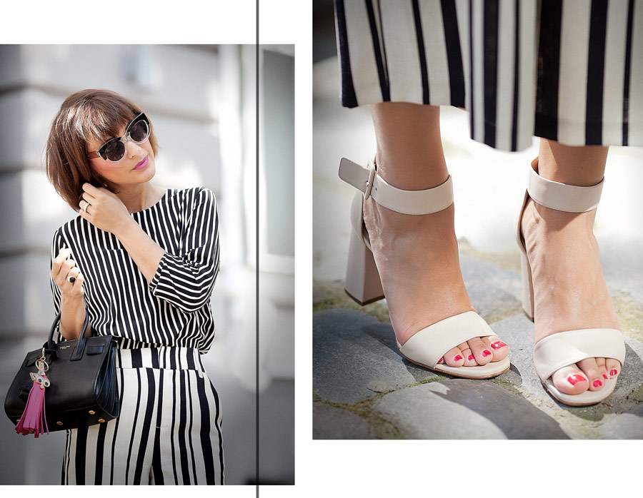 striped accessories, street style details