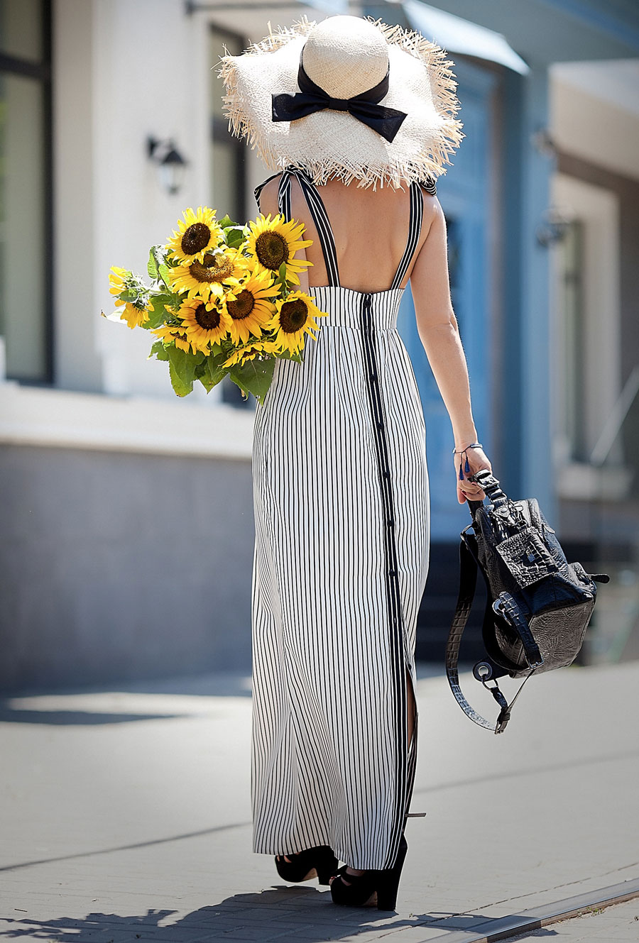striped summer dress, asos straw hat, pic of the best summer outfit ideas, striped summer dresses, sunflowers in street style,