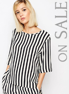 Selected Aliva Striped Short Sleeved Top