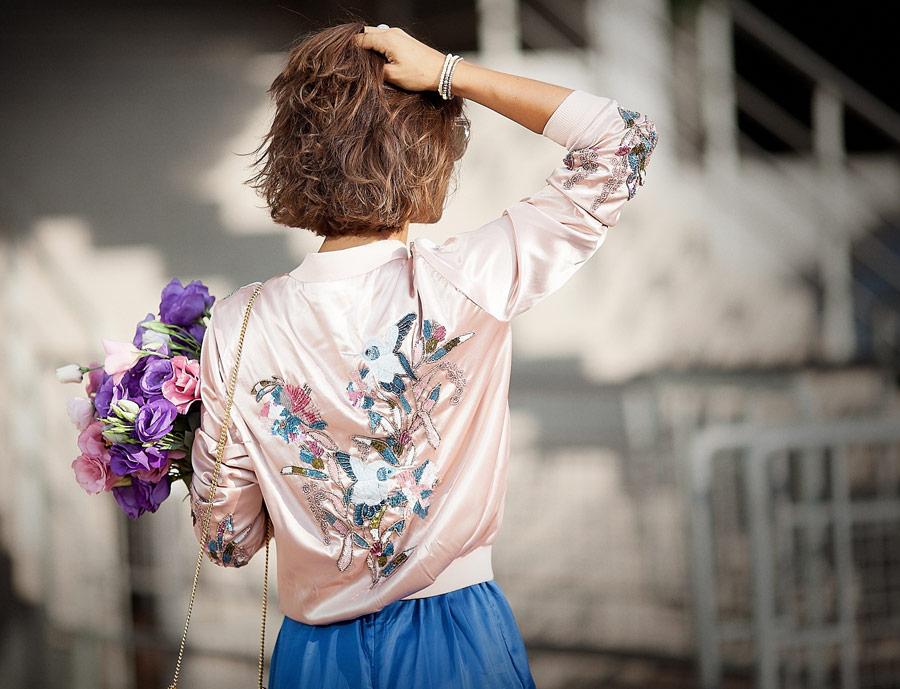 asos blush embellished bomber jacket