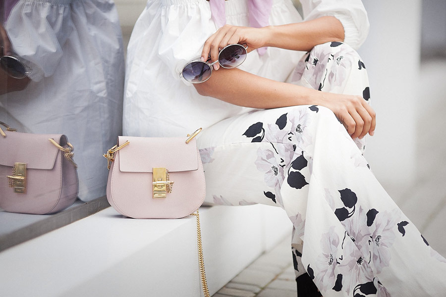 chloe drew bag, floral printed trousers,