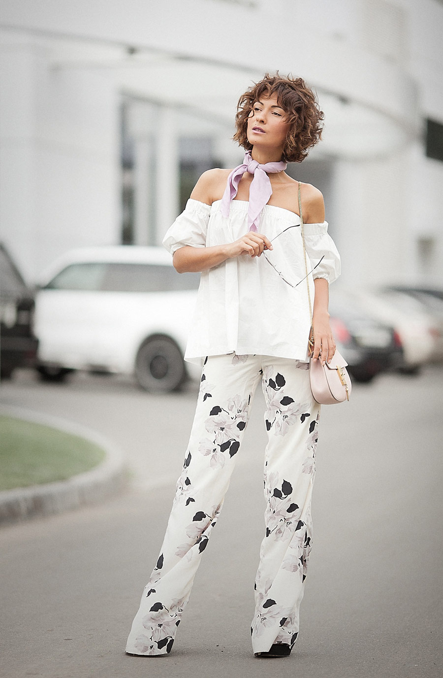 floral printed trousers, off the shoulder top,