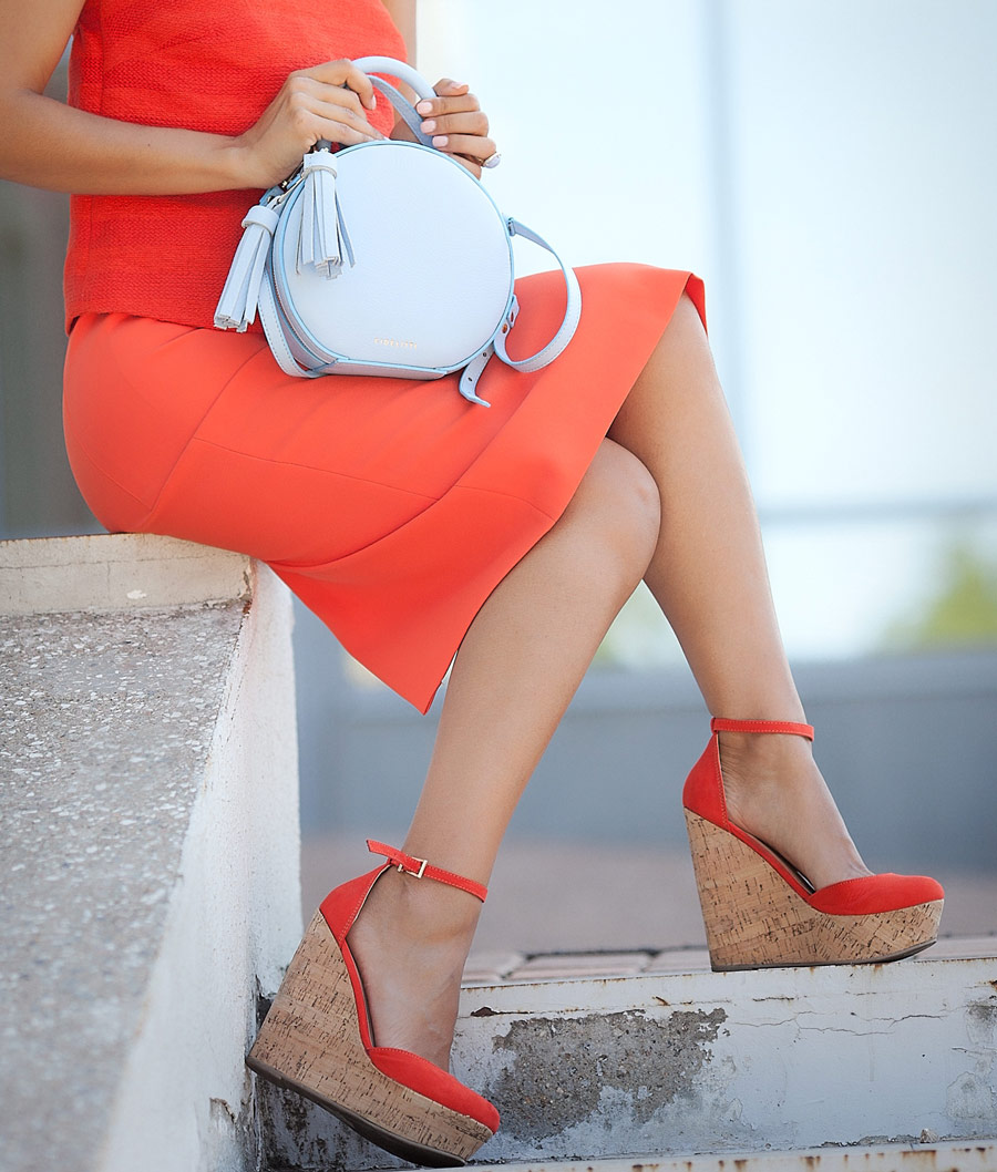 leather round bag, coral red wedges,