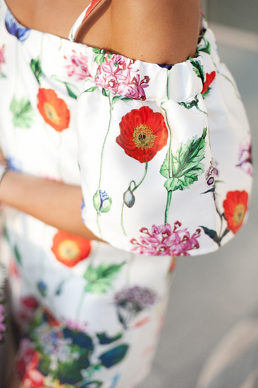 poppy flowers printed top