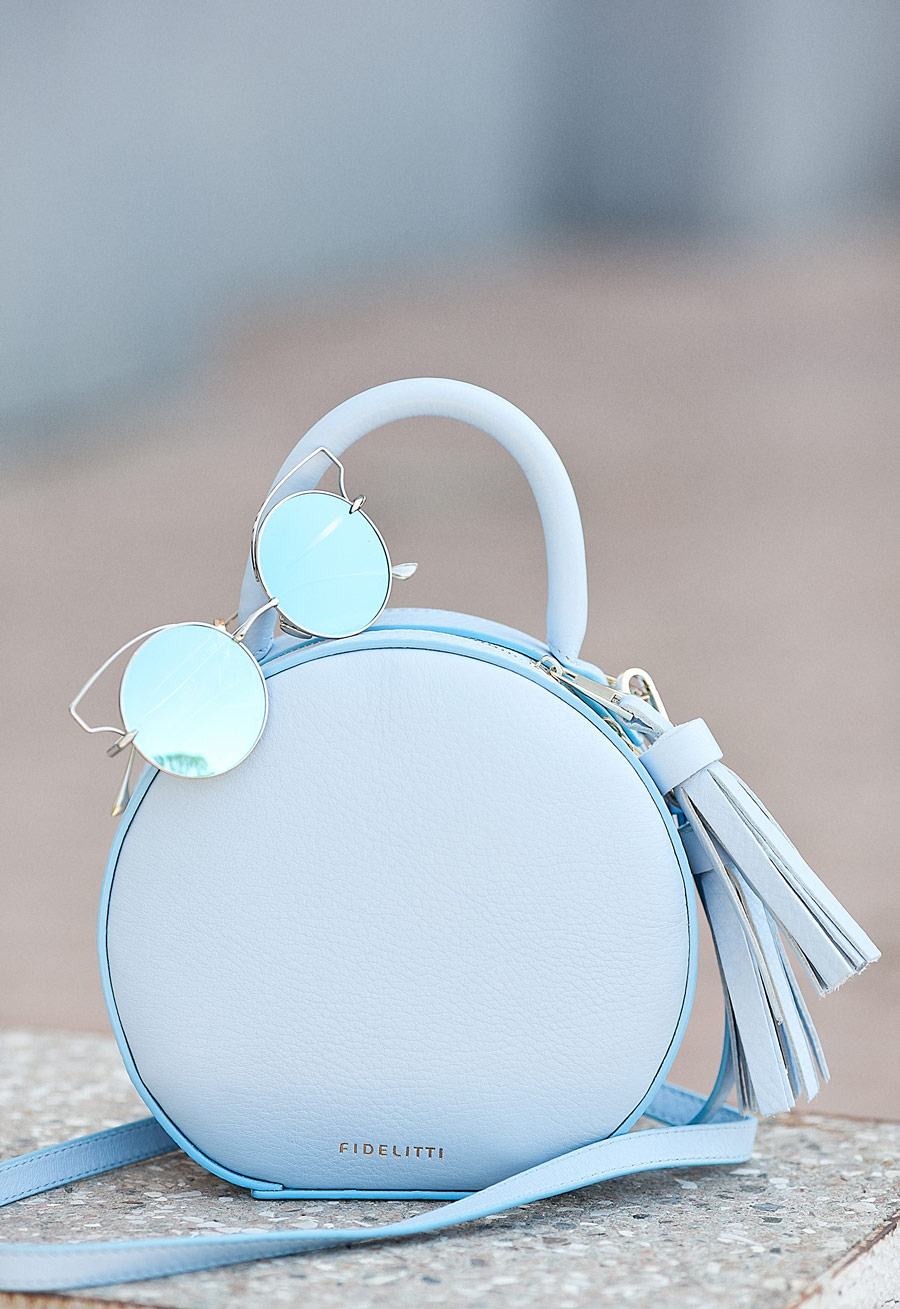 dusk blue leather round bag,
