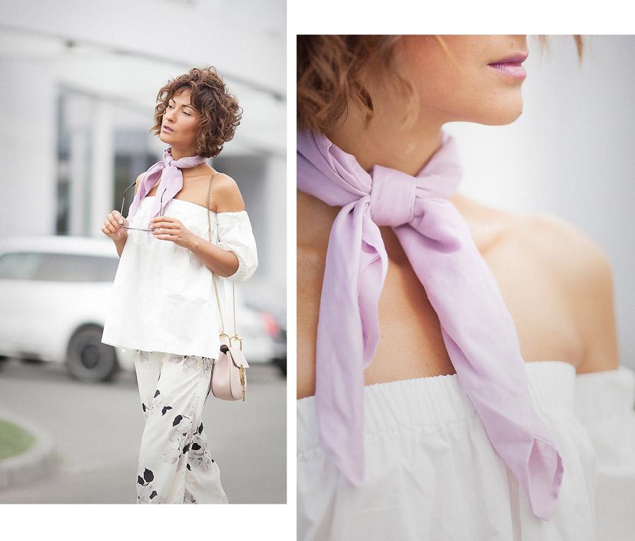 lilac neck scarf,