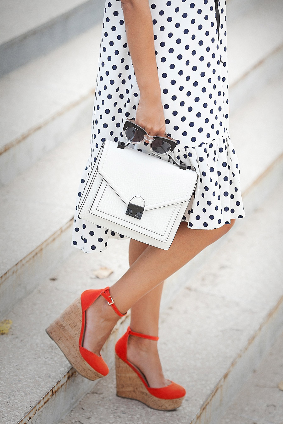 loeffler randall bag, red wedges, polka dot dress,