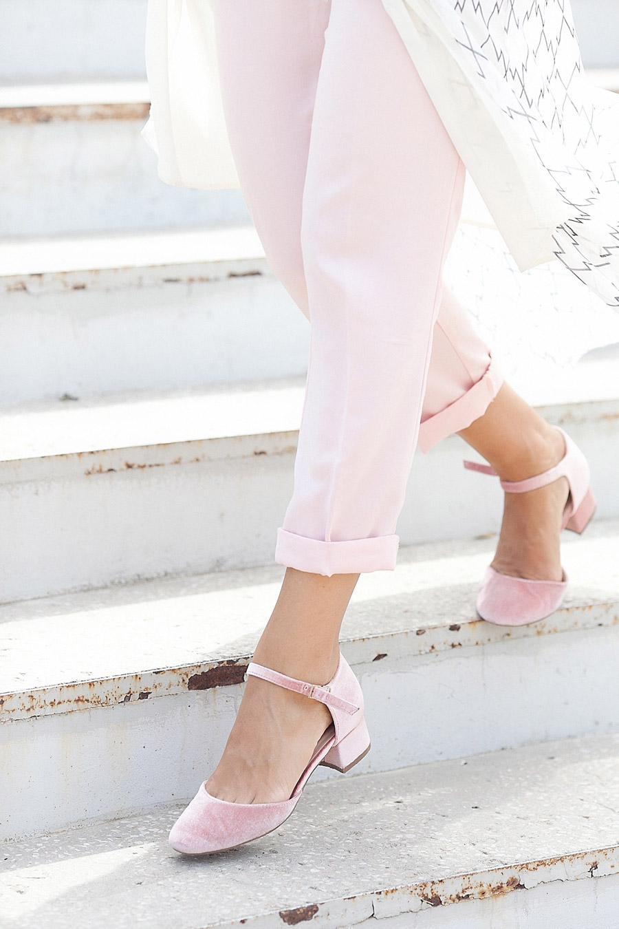 pale blush velvet shoes
