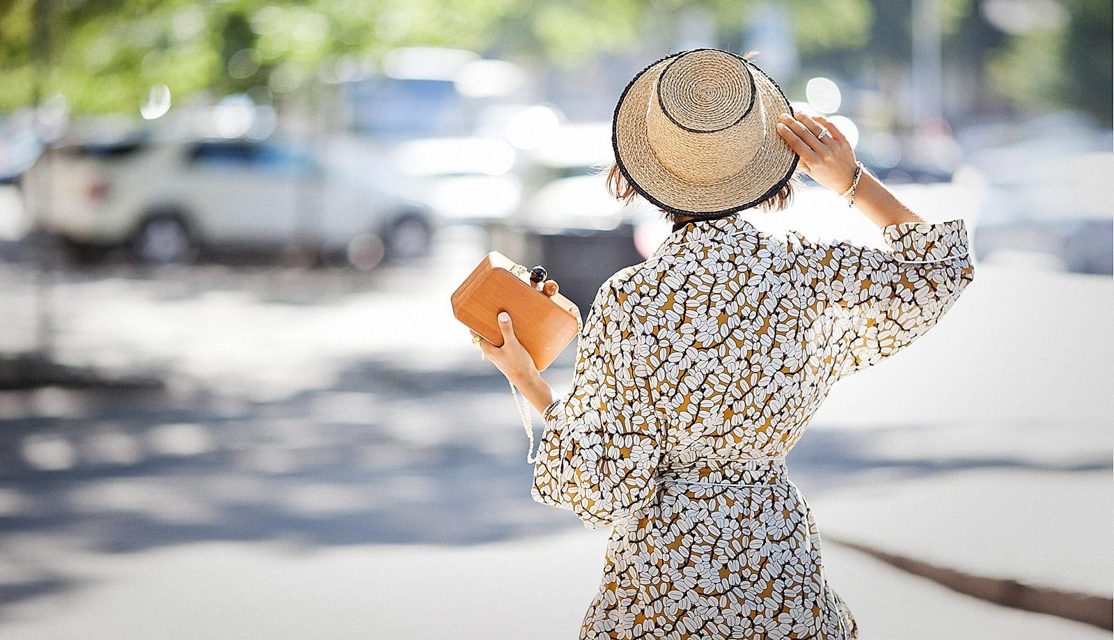 pajama street styles, zara straw bucket hat,