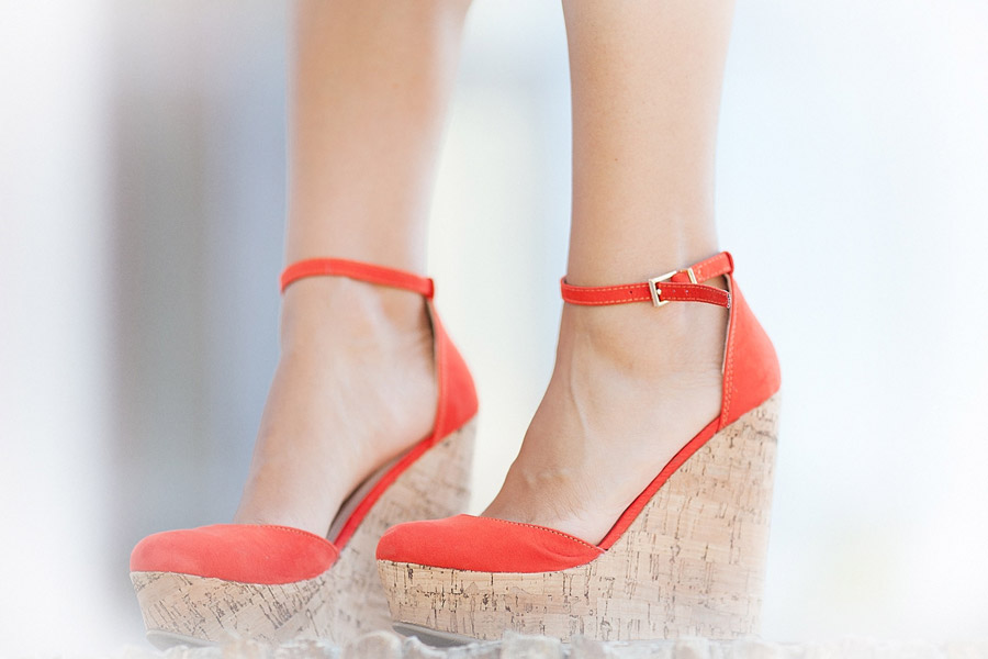 asos coral red wedges,