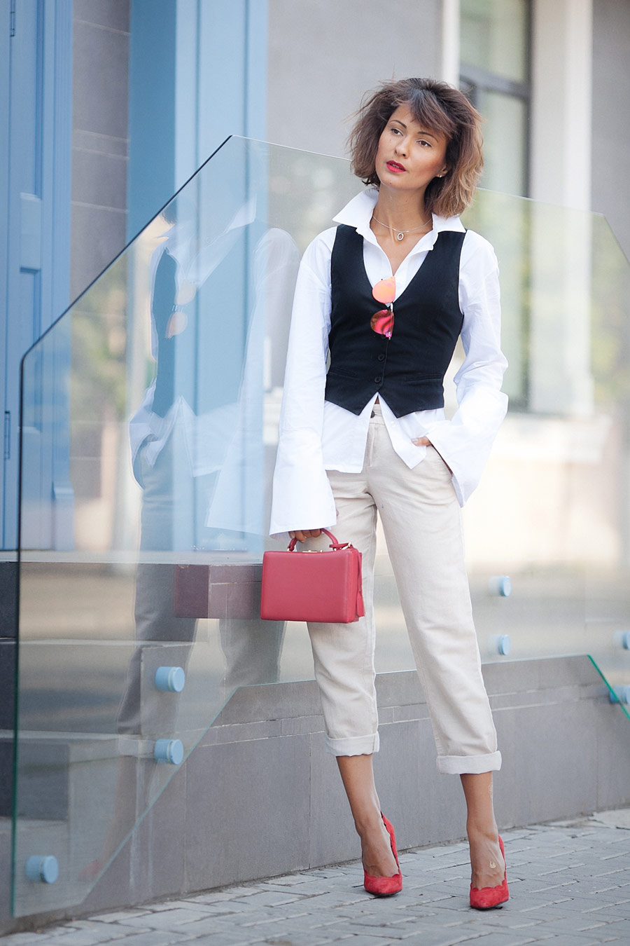 office dress code ideas, summer office dress code ideas, ellena galant girl fashion blogger, mark cross red bag, suit waistcoat outfit,