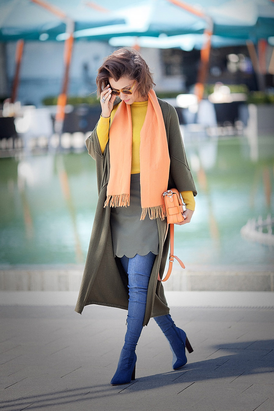 fall colors outfit, denim boots outfit, autumn color outfit, orange wool scarf,