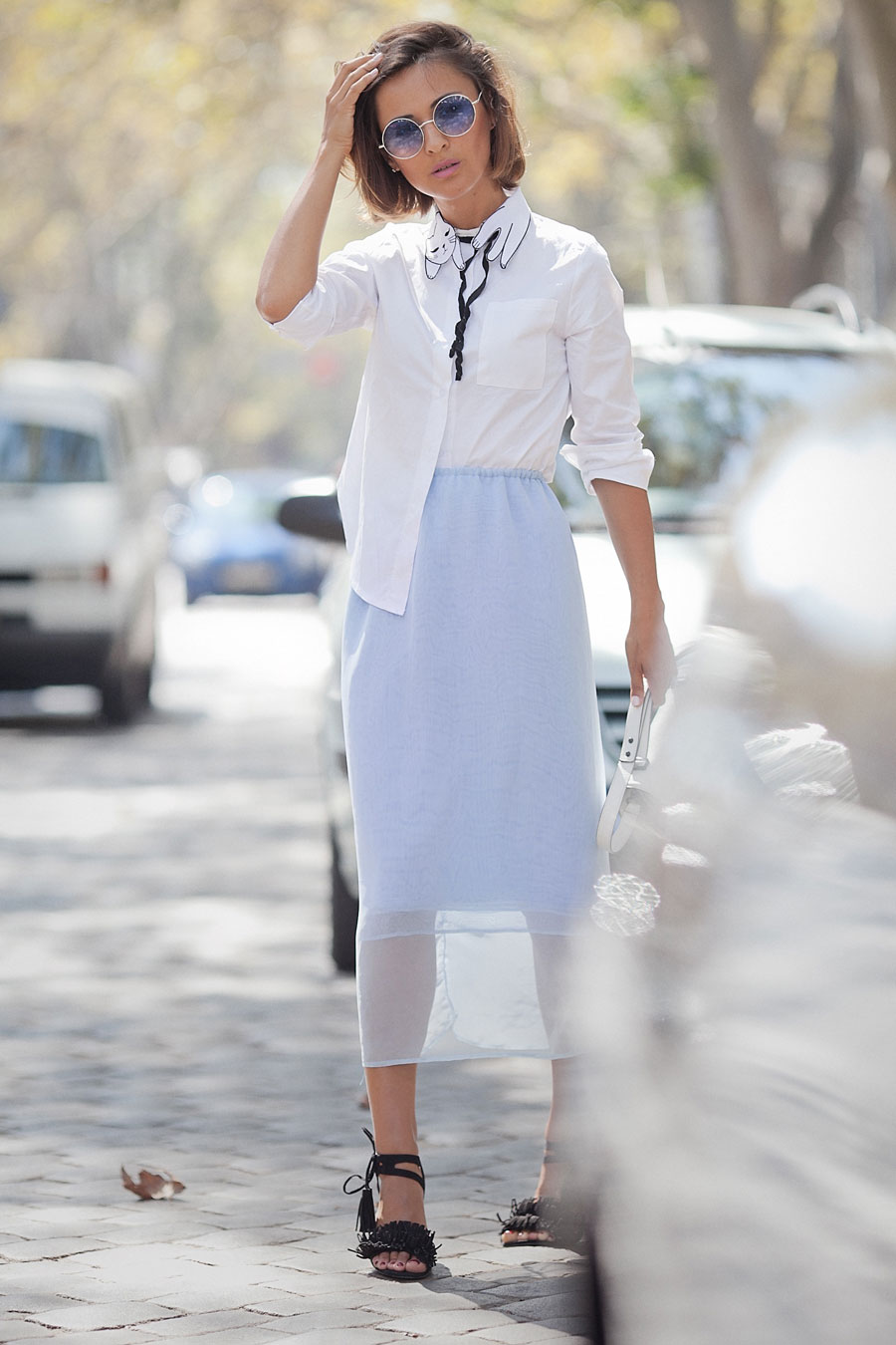 blue pencil skirt outfit, white shirt outfit, Ellena Galant, Елена Галант,