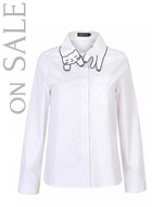 White Cat Pattern Collar Shirt