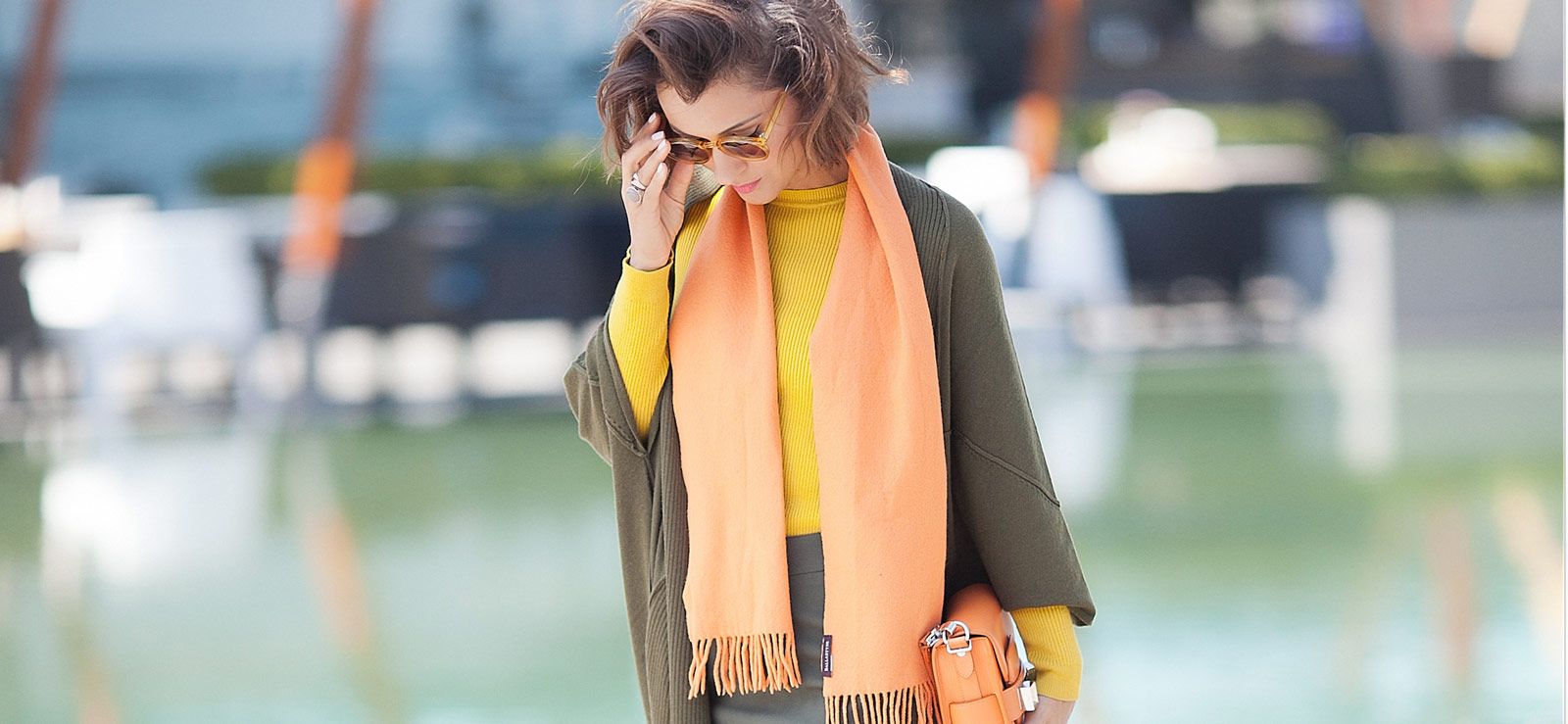 khaki cardigan, orange wool scarf, orange bag, fall colors outfit,