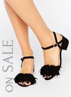 Truffle Fringe Mid Block Heel Sandal