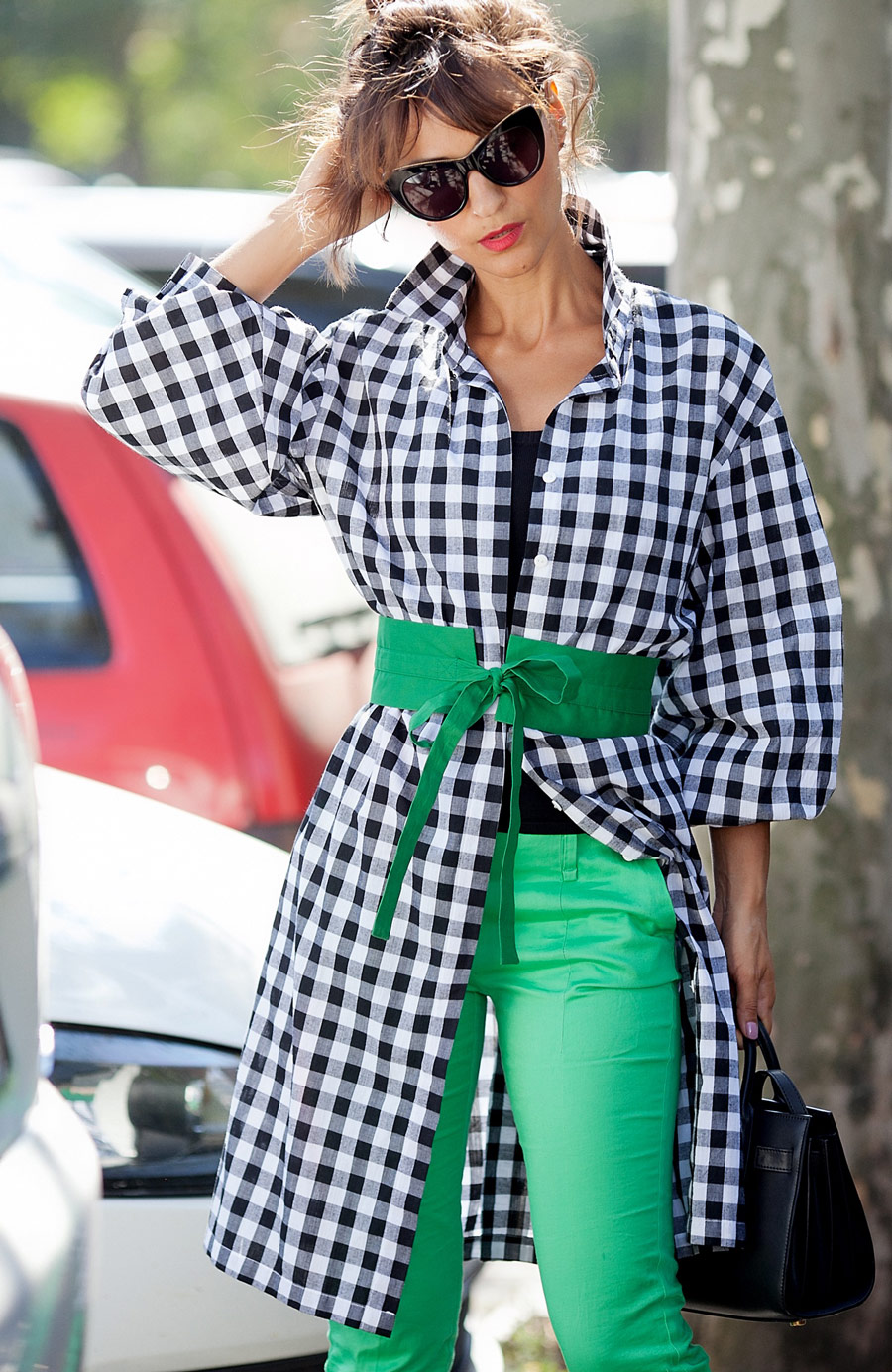 gingham shirt dress, green accessories,