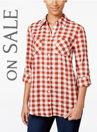 Style & Co. Gingham Roll-Tab Shirt