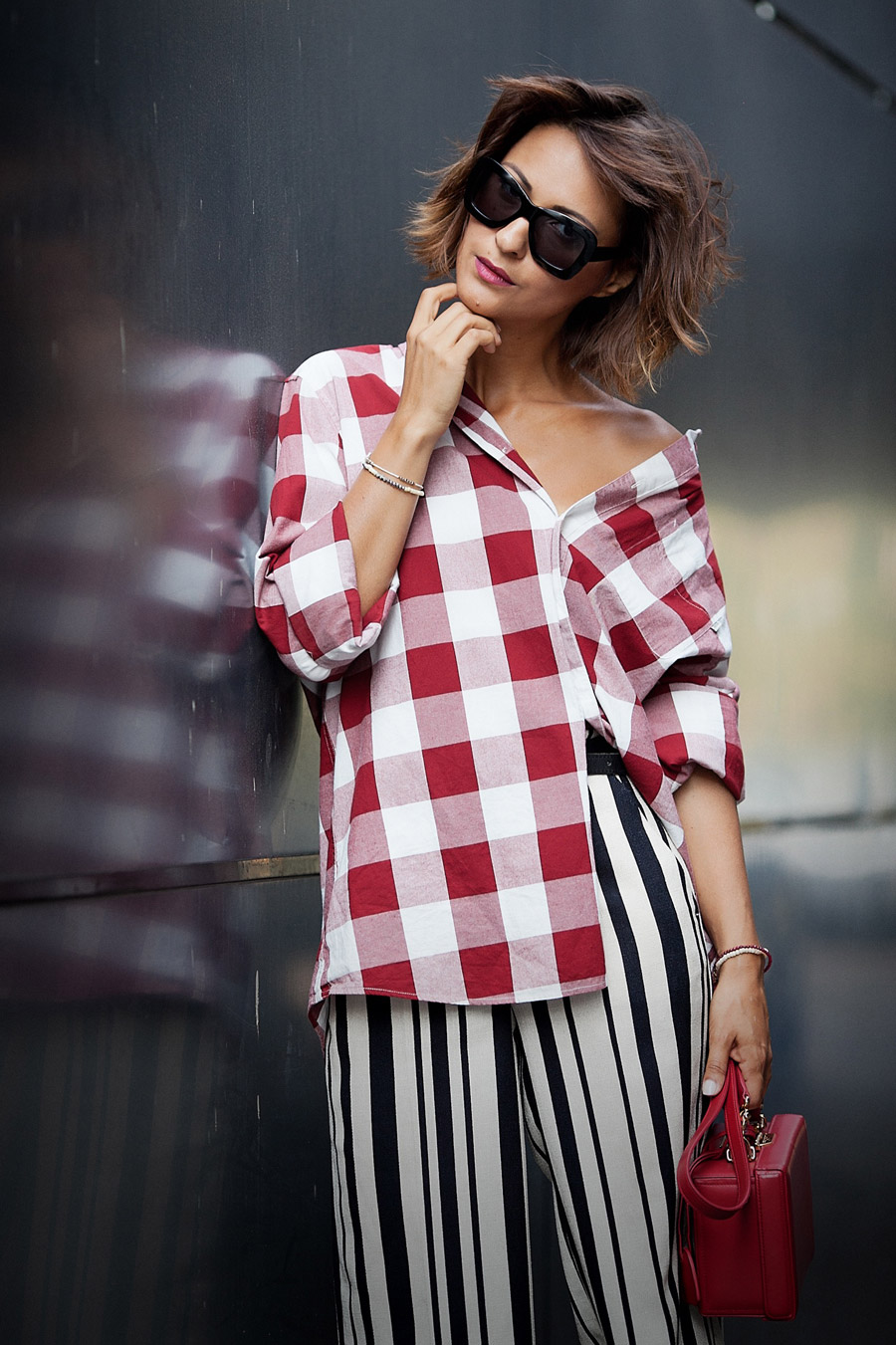 red gingham shirt, striped culottes, mix of prints outfit,