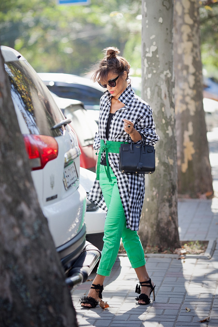 gingham shirt dress, green pants outfit, check shirt-dress outfit, ellena galant girl,