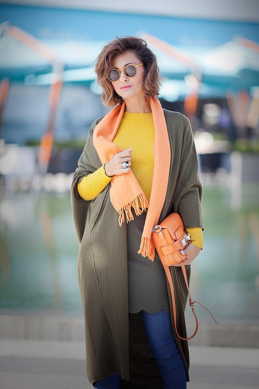 khaki cardigan, orange wool scarf, orange bag, fall colors outfit,