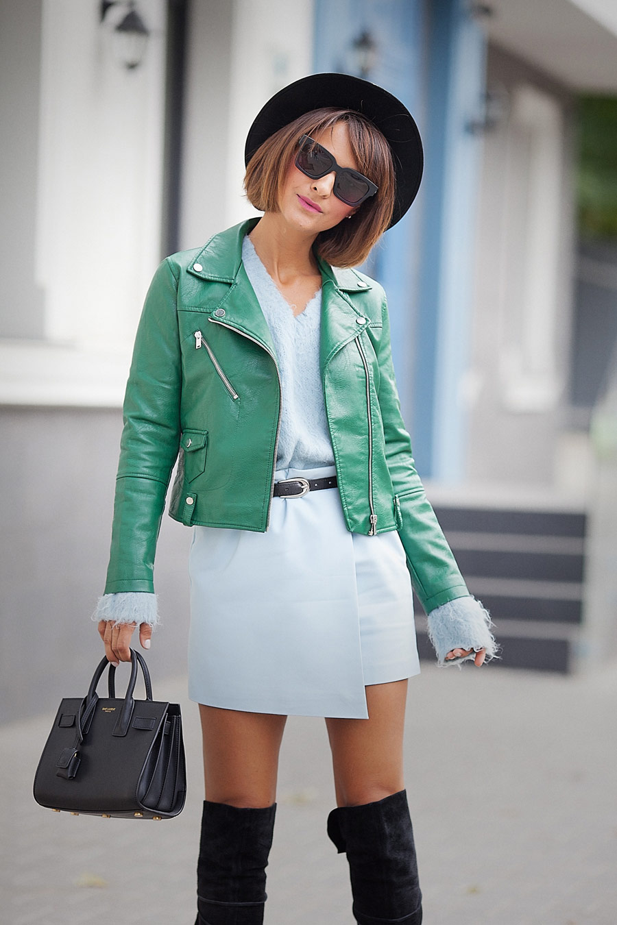 fall outfit ideas, biker jacket outfit, mango biker jacket, how to wear green color, green leather biker jacket outfit,