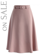 Savvy Belted A-line Skirt in Pink