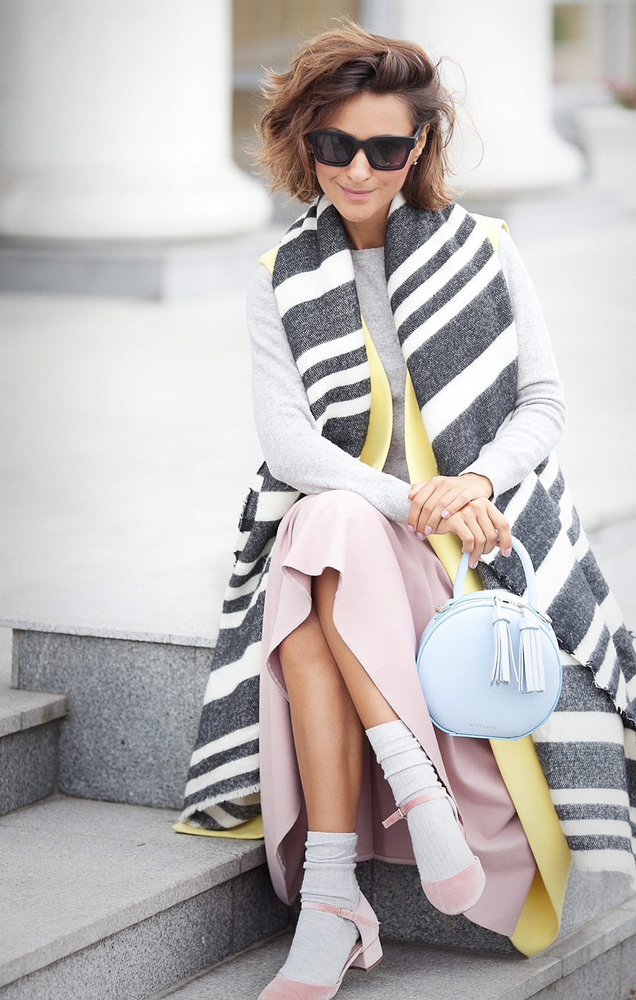 striped wool scarf Zara, pastel colors outfit for fall,
