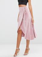 ASOS TALL Wrap Midi Skirt In Velvet