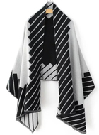 Black Graphic Pattern Frayed Scarf