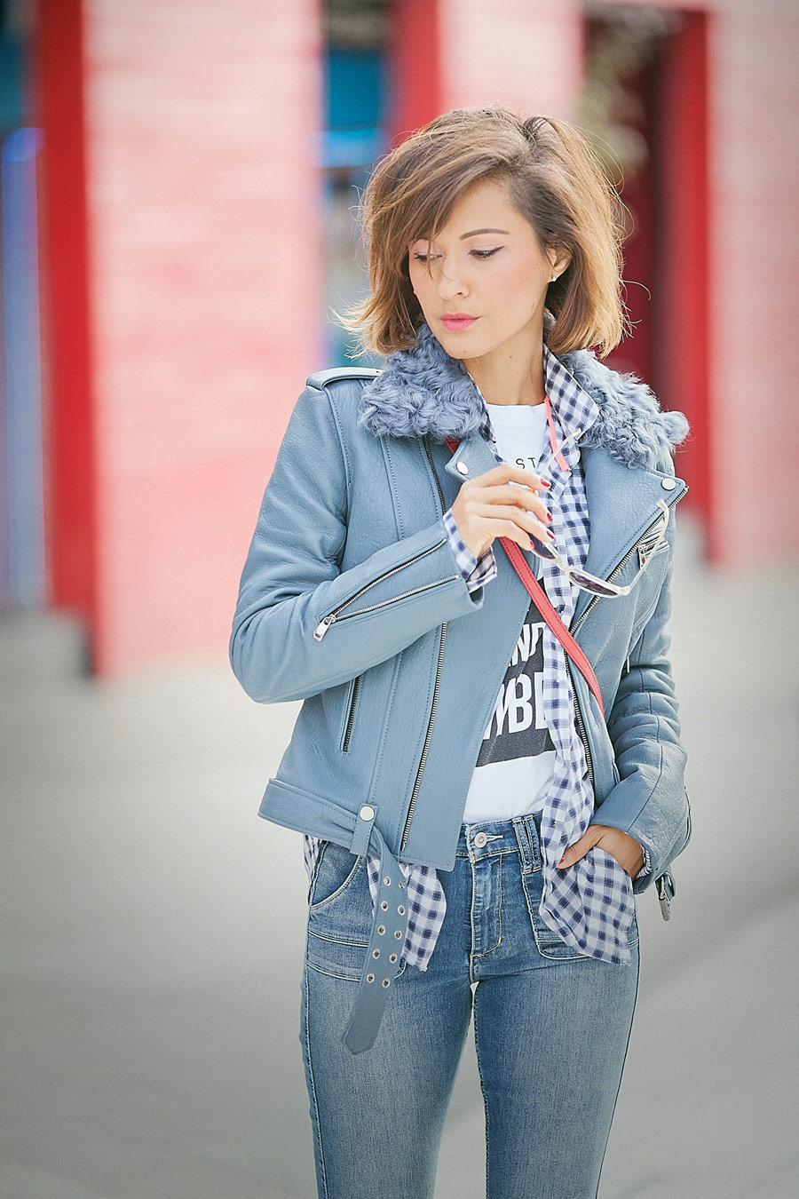 biker jacket, blue leather biker jacket,