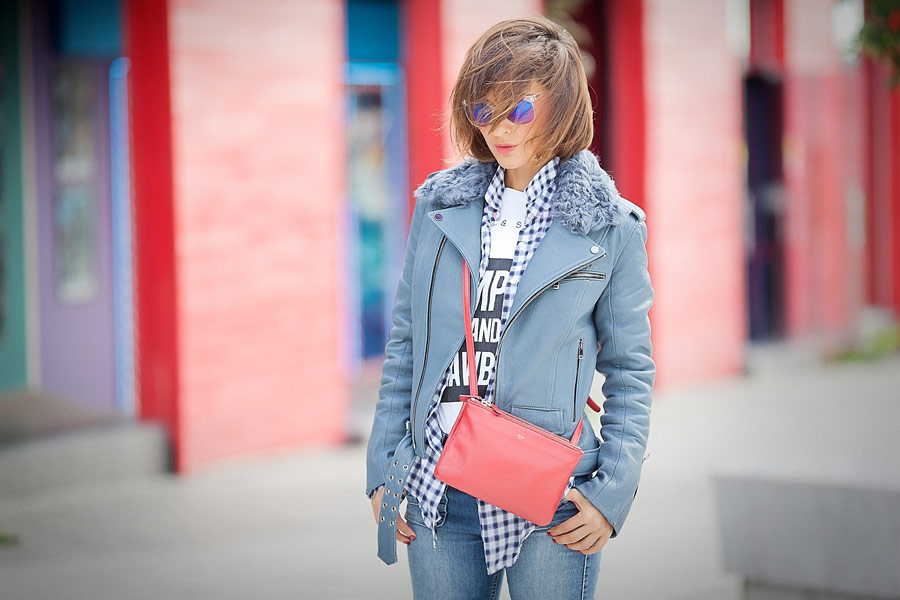 celine trio bag, biker jacket, blue leather biker jacket,