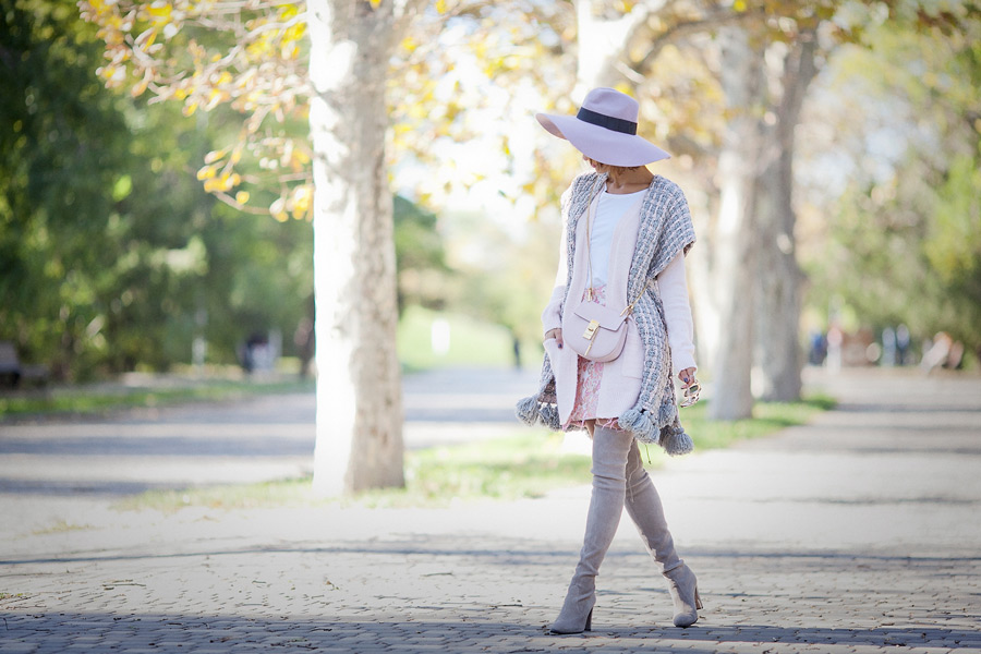over the knee boots outfit, chloe drew bag, knitted poncho outfit, knitted poncho, fall layering street styles,