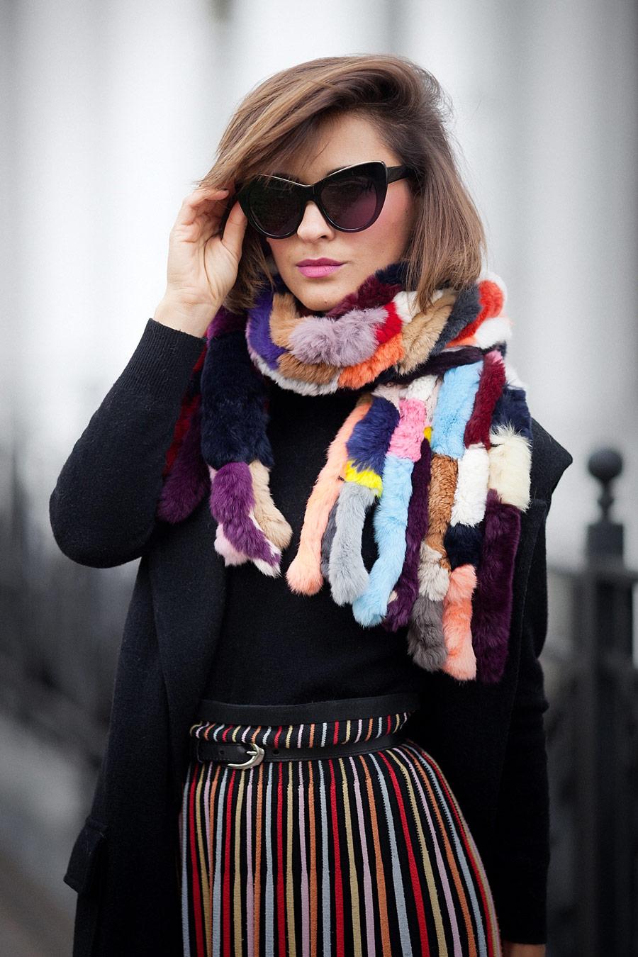 fur scarf outfit, меховой шарф,