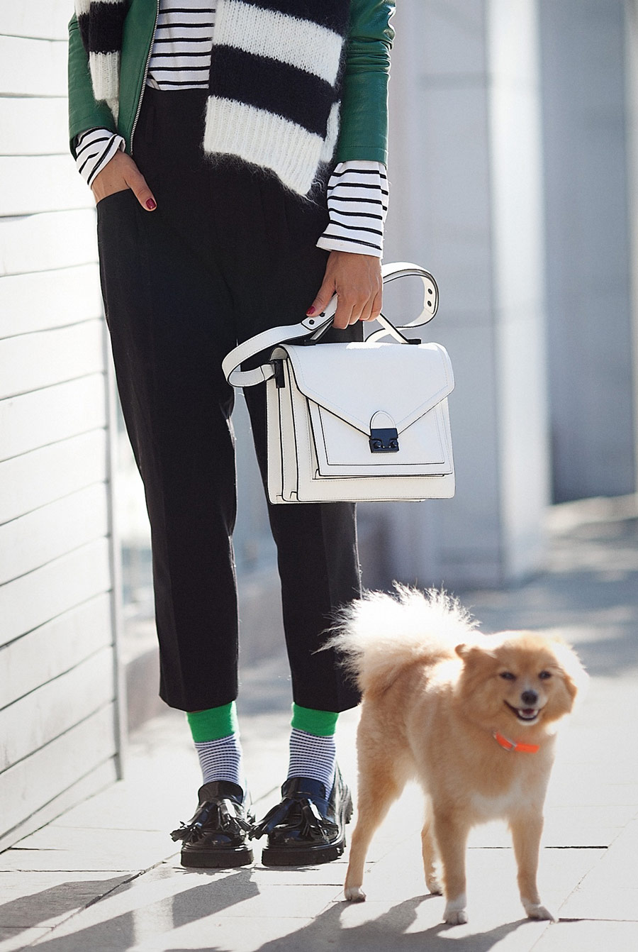 loeffler randall bag, playful socks outfit, cropped trousers outfit, fashion blogger,