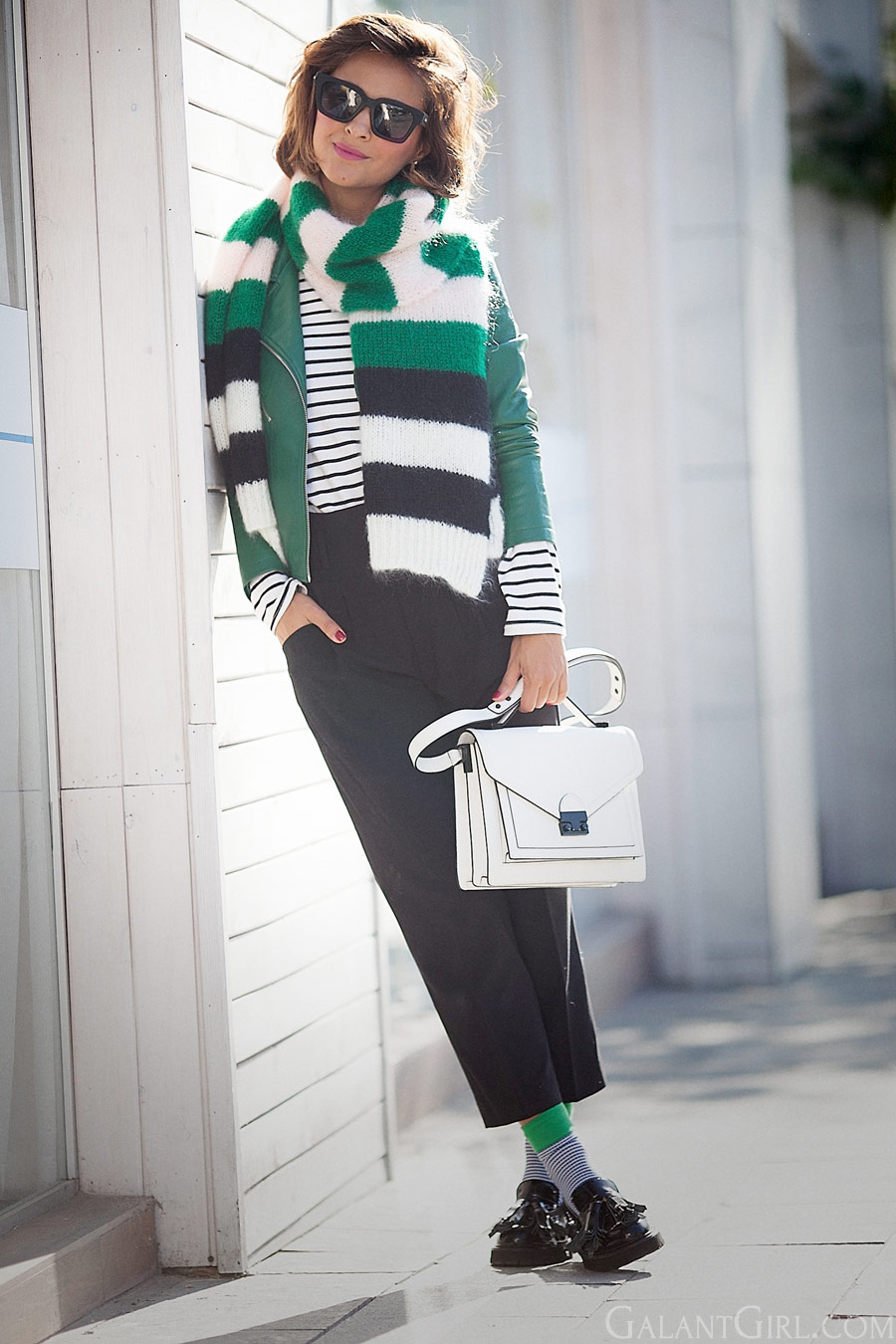 Mara Mara scarf, striped scarf, loeffler randall bag, MSGM loafers, green accents outfit, fall outfits,
