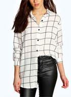 GRID PRINT OVERSIZED SHIRT