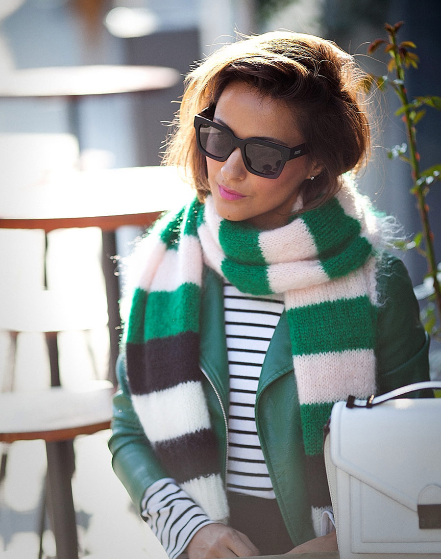 street style fall outfits, max mara scarf, striped scarf,