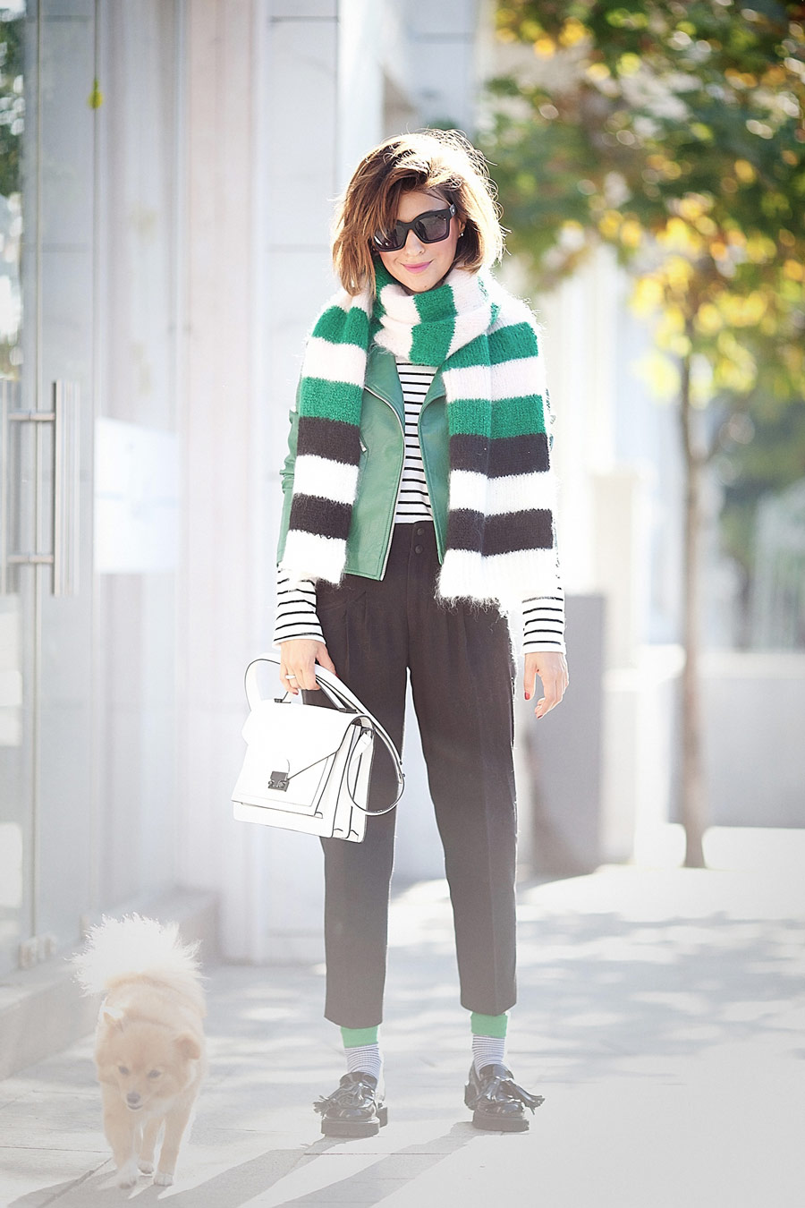 max mara scarf, cropped trousers outfit, loeffler randall bag,