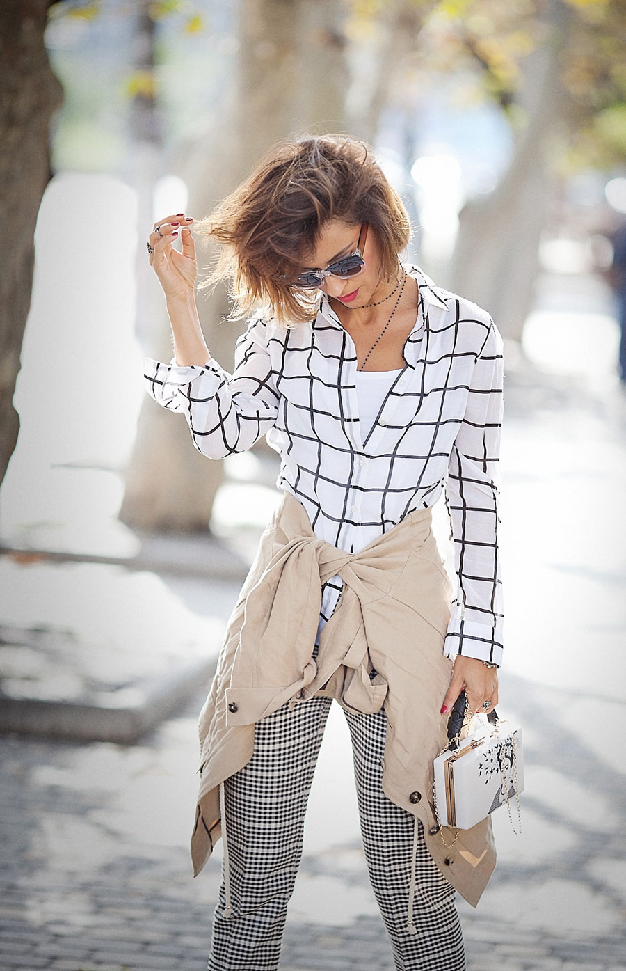grid check shirt, mix of prints, fall outfits,