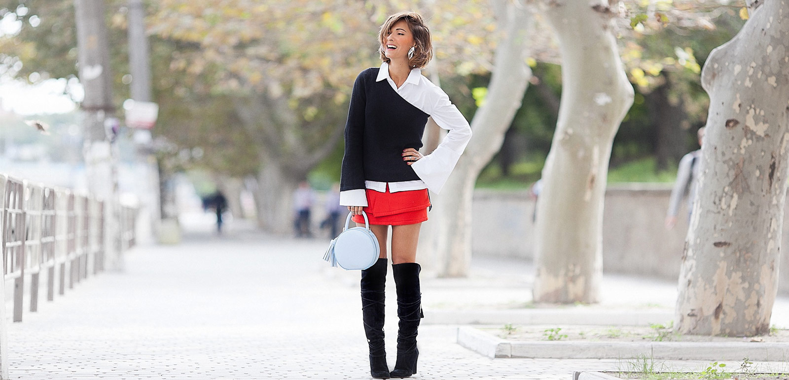playful style, one shoulder jumper, red mini skirt outfit, Ellena Galant,
