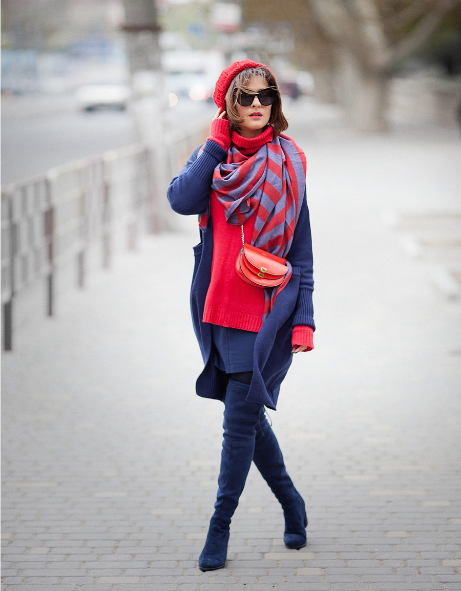 winter outfits, total navy blue outfit, stuart weitzman boots outfit, chloe georgia bag, winter look,