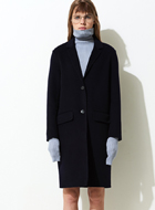 Dark Navy Slouch Wool Longline Coat