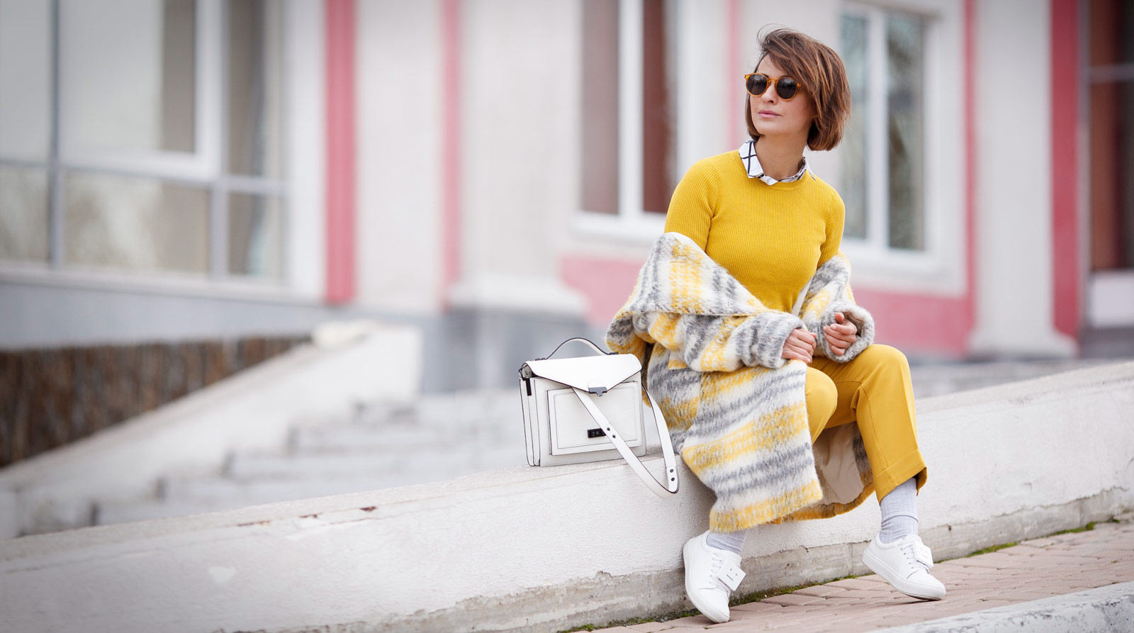 plaid coat, yellow plaid coat, total mustard outfit,